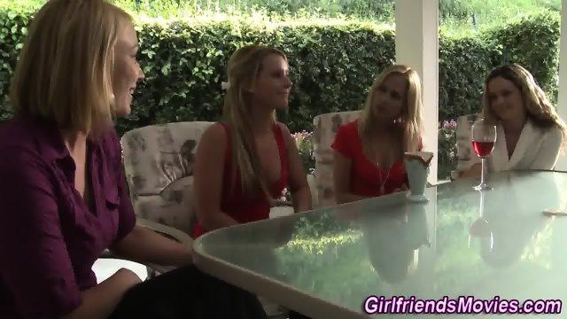 Blonde lesbians rubbing - scene 1