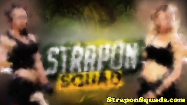 Strapon slut roughly strapon fucked in trio