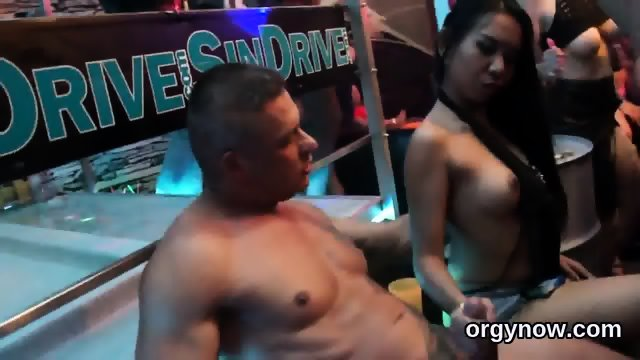 Pretty hotties suck cock and enjoy penetrating and gangbang - scene 1