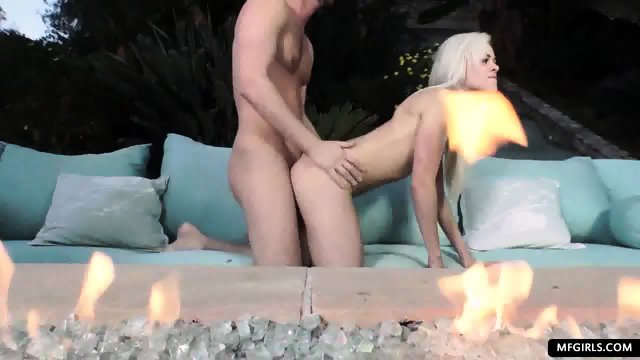 Naughty blonde slut teased and rough fucked outdoor - scene 9