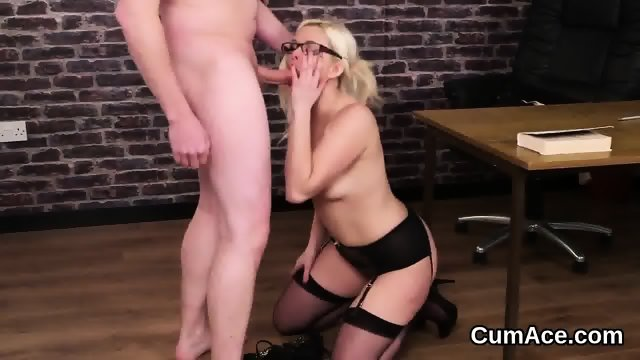 Flirty doll gets cumshot on her face swallowing all the cum - scene 10