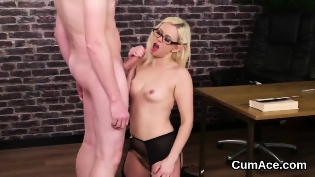 Flirty doll gets cumshot on her face swallowing all the cum - scene 12
