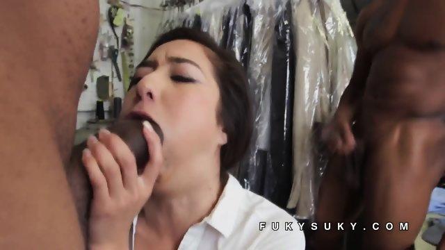 Mila Jade double stuffed by black cocks - scene 3