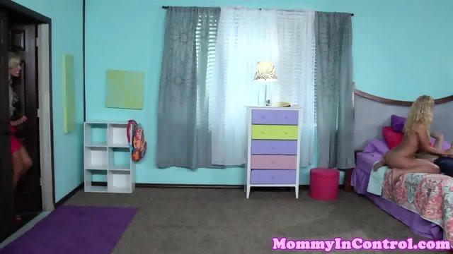 Hugetitted milfs join teen couple in bedroom - scene 4