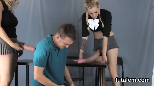 Girls screw boyfriends butthole with massive strapons and squirt cream - scene 12