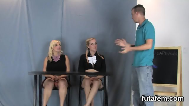 Girls screw boyfriends butthole with massive strapons and squirt cream - scene 3