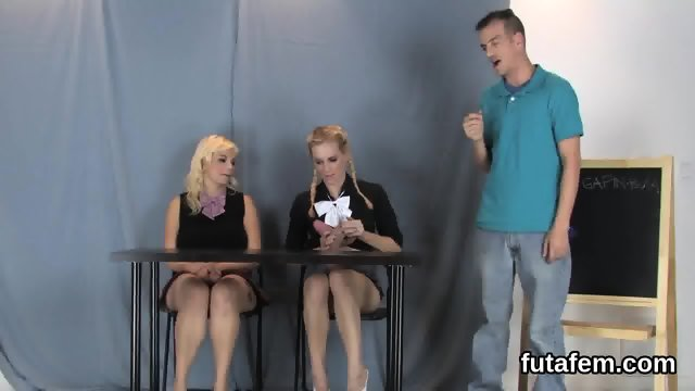 Girls screw boyfriends butthole with massive strapons and squirt cream - scene 6