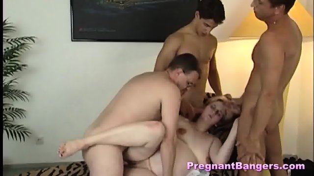 Orgy with a pregnant mature and three men - scene 8