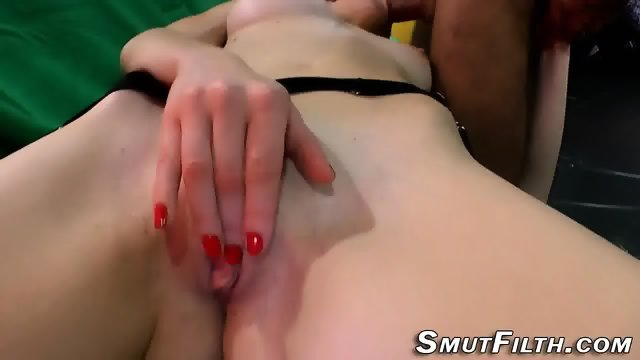 German skank eats cum