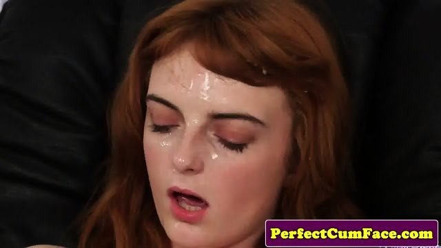 Stockinged redhead facialized in office - scene 6