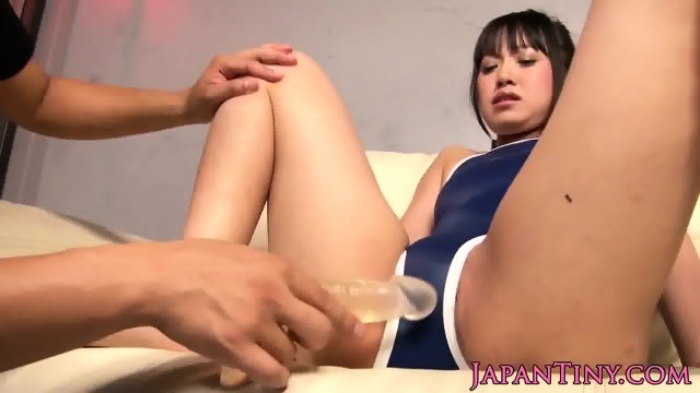 Dominated tiny asian sucking cock in gangbang