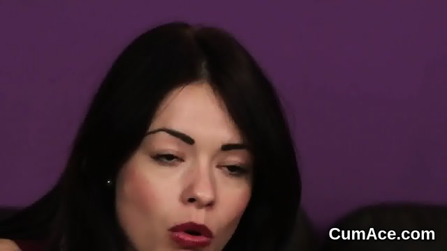 Sexy centerfold gets jizz load on her face sucking all the jism