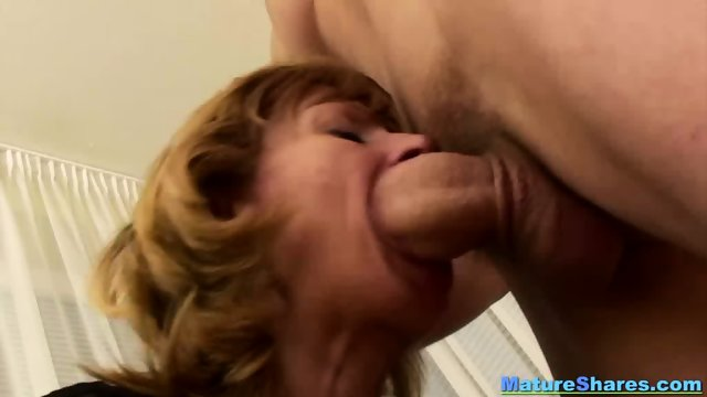 Natural Granny Sucking A Huge Hairy Cock - scene 1