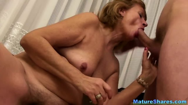 Natural Granny Sucking A Huge Hairy Cock - scene 5