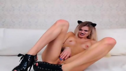Young Catgirl Riding A Dildo In Her Ass - scene 8