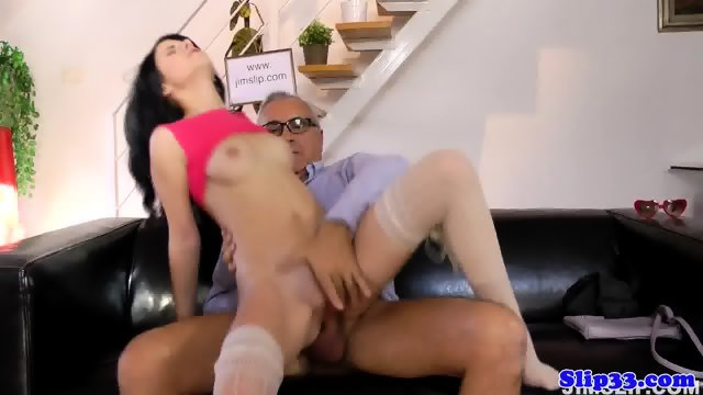 Classy babe riding oldmans cock cowgirl style