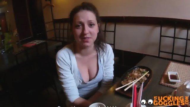 Russian slut fucked in the public toilet