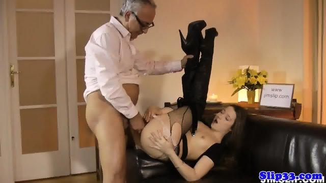 Assfucked euro babe riding old mans pole - scene 6