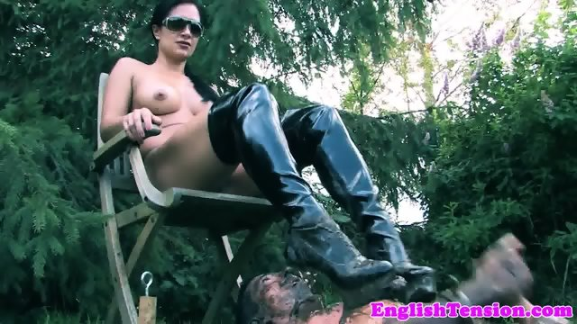 Mistress pissing on sub outdoors in the mud - scene 7