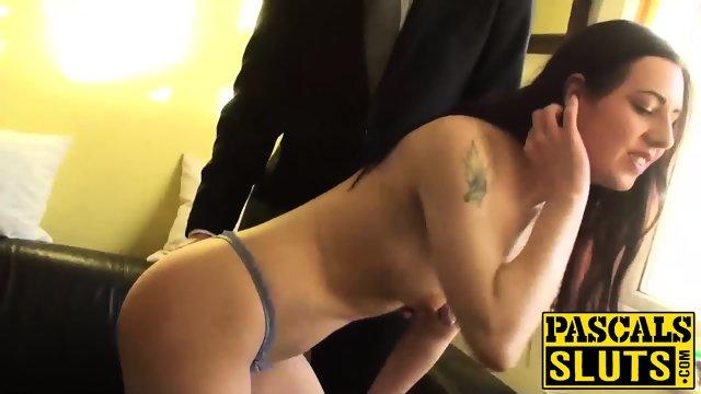 Amateur brunette wife Honesty masturbates on the couch - scene 5