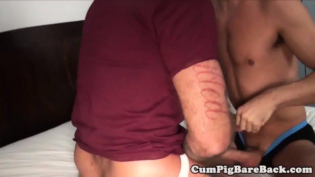 Ripped mature bear cocksucks in bareback trio - scene 2