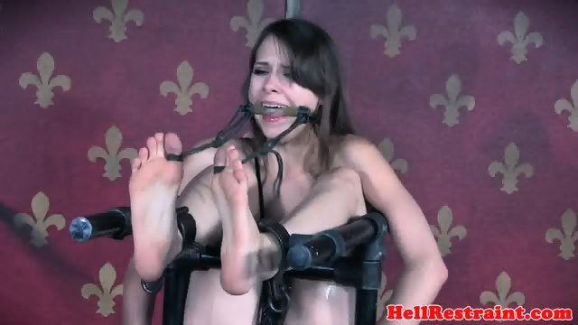 Gagged slave spanked while pussy punished - scene 12