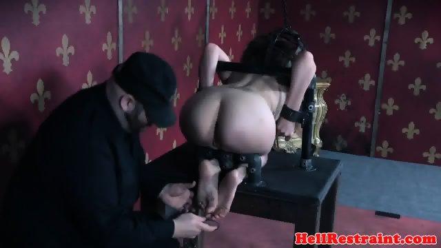 Gagged slave spanked while pussy punished - scene 5
