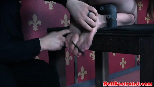 Gagged slave spanked while pussy punished - scene 7