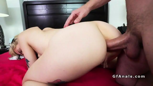 Tattooed girlfriend gets anal creampie after sex - scene 9