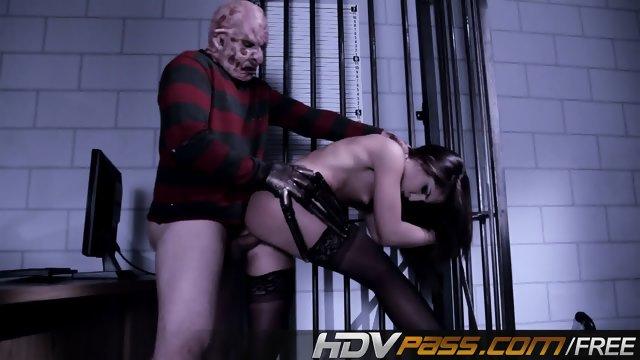 Freddy Krueger Fuck a Hott Brunette Babe Giselle Leon