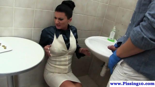 Classy pissing euro babe railed in restroom - scene 2