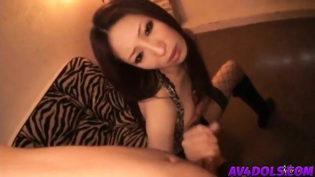 Koyuki Hara in sexy lingerie fucks herself while giving a footjob