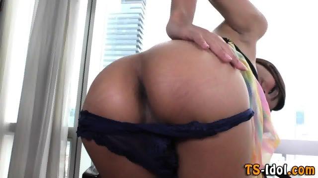 Cute ladyboy masturbating
