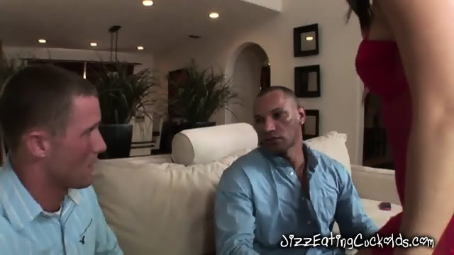 Brunette Dixie Gives Black Guy A Blowjob