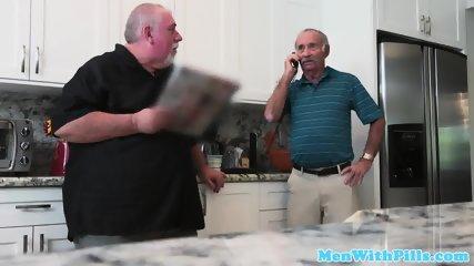 Old senior facializes younger amateur