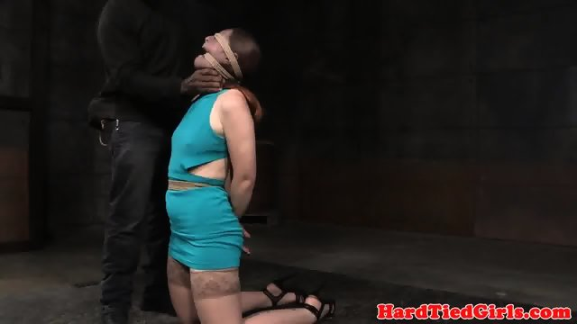 Spreadeagle sub strapon facefucked by femdom