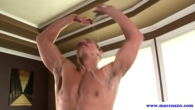 Muscular amateur hunk solo playing