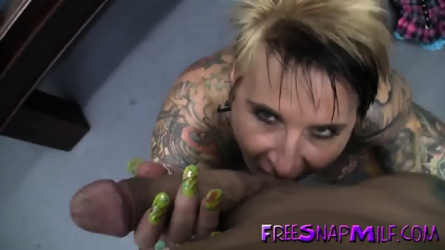 Tattooed mature fucked on pool table