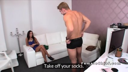 Female agent has lap dance on dick in casting