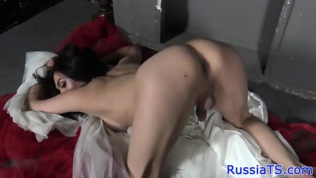Russian tgirl cocksucking until facial