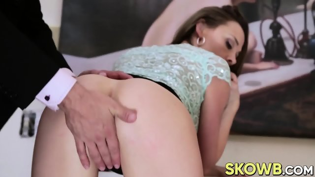 Gorgeous brunette Chanel Preston sits on a dudes hard cock