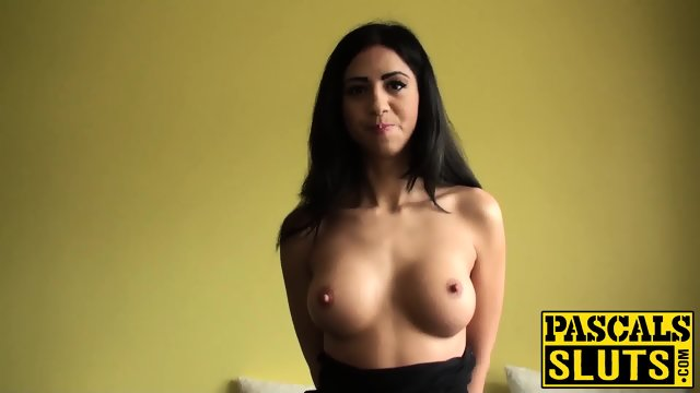 Busty latin babe Julia De Lucia rubbing her clit excitedly