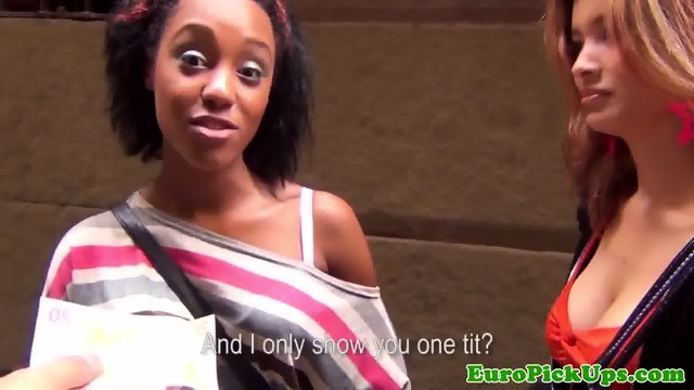 Ebony euro in trio pickedup and fucked