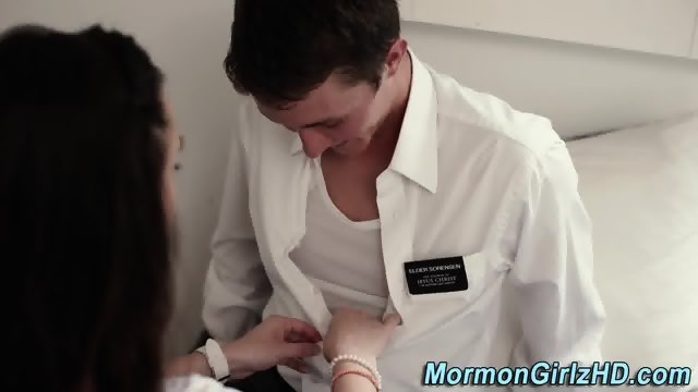Busty mormon gets oral