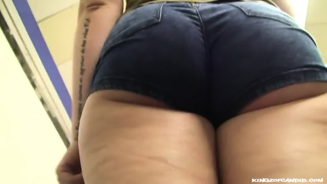 Thick Spanish Gal in Tiny Jeans Shorts