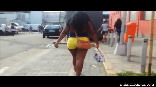 Thick Brazilian Ebony in Yellow Shorts