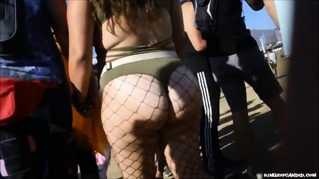 Plump Festival Girl in Fishnets & Hotpants