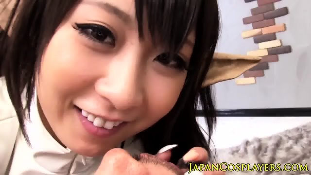 Japanese cosplay babe gives hot pov blowjob
