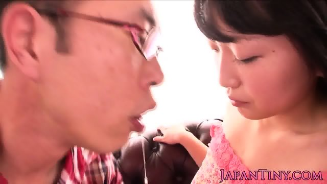 Japanese petite giving handjob then peed on