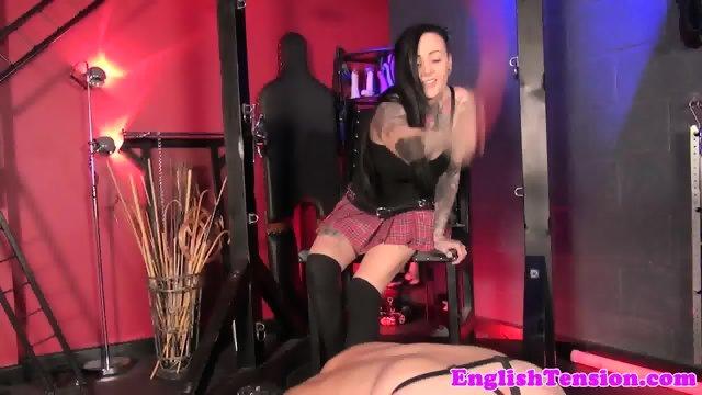 Inked femdom punishes worthless submissive